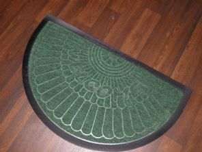 NON SLIP DOORMATS 45X75CM RUBBER BACK GOOD QUALITY ALL COLOURS HALF MOON GREEENS